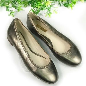 Louise et Cie Silver Gray Metallic Scallop Flats 6